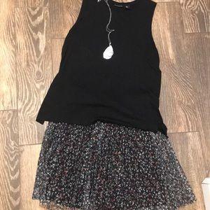 Pleated knee length skirt